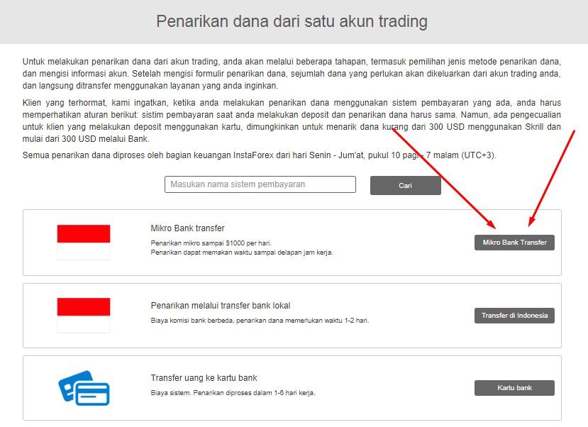 Pilihan Pembayaran instaforex untuk Withdraw bank Lokal Indonesia
