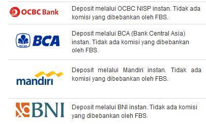 Broker Forex yang menerima bank lokal BCA, Mandiri, BNI, NISP