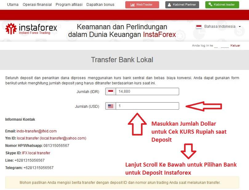 Kurs deposit instaforex dengan bank lokal Indonesia