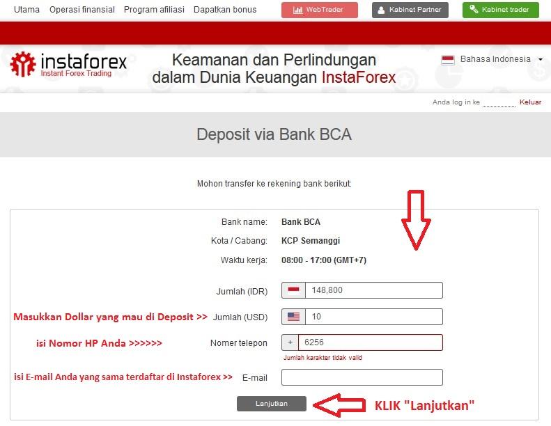 Contoh deposit instaforex dengan bank lokal BCA