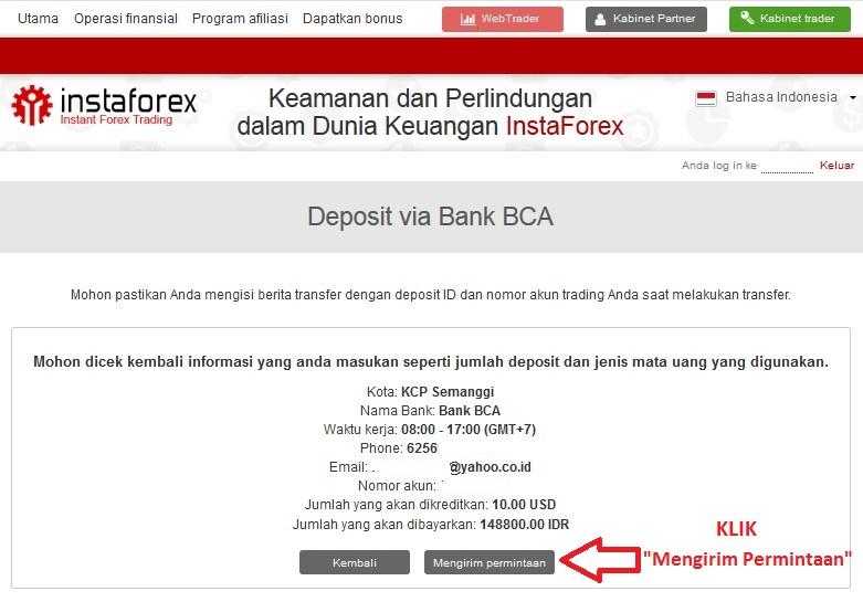Konfirmasi Deposit Instaforex Bank Lokal BCA