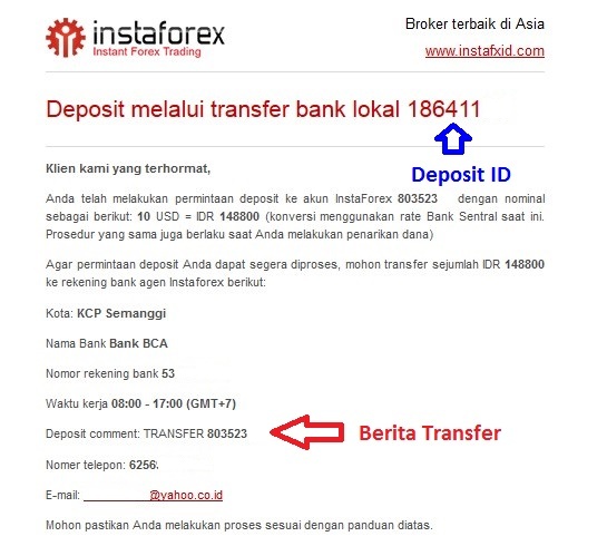 Konfirmasi details deposit instaforex dengan bank Lokal