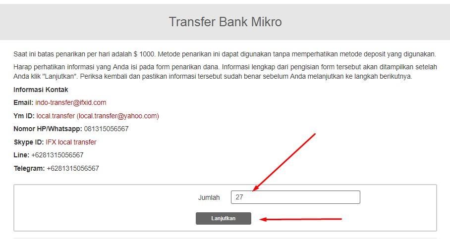 isi total yang akan anda withdraw di instaforex