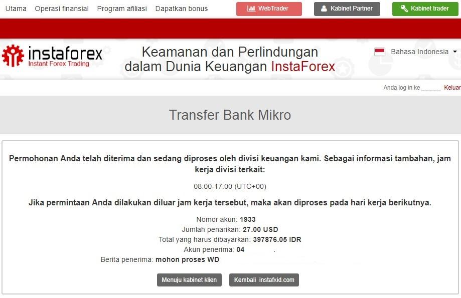 Konfirmasi penarikan (withdraw) dengan bank lokal BCA di Instaforex