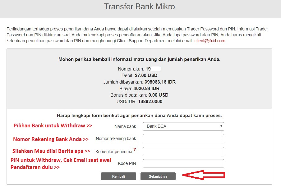 Pengisian withdraw dengank bank lokal di Instaforex