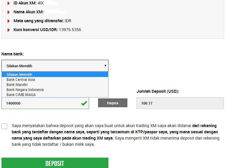 Pilihan Bank Lokal untuk deposit di XM Indonesia