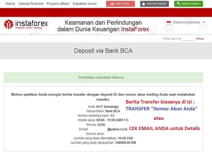 Detail rekening BCA deposit instaforex bank lokal
